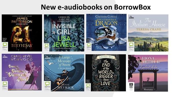 covers of new BorrowBox e-audiobooks