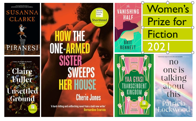 book covers of shortlisted titles for the Women's Prize for Fiction 2021