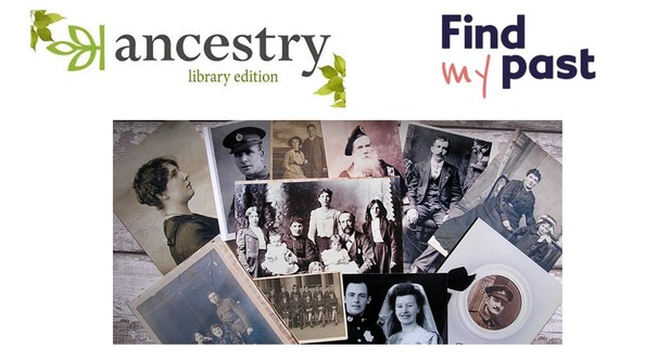 image of old family photos and logos for Ancestry and Find my Past
