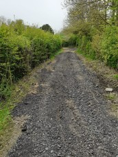 Resurfaced section of Hawthorndale Lane