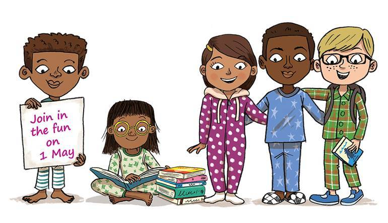 Cartoon children celebrating Pyjamarama