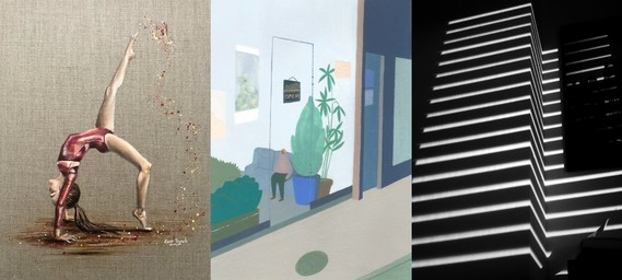 Montage of three featured artists work