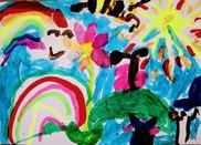 Rainbow and sunshine child's drawing