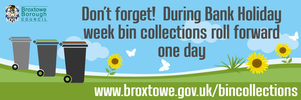 Graphic showing that bin collections roll forward one day for the bank holiday