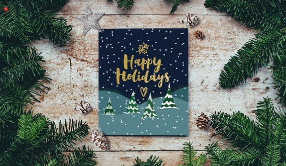 Happy Holidays image with greenery