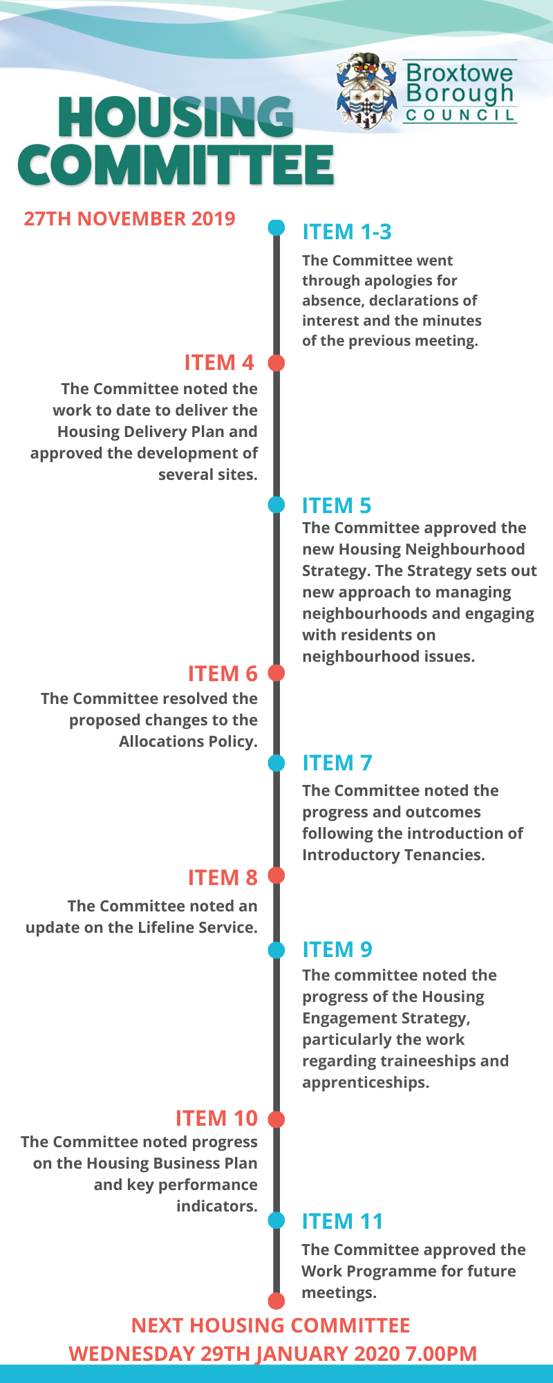 infographic sets out decisions made at the Housing Committee meeting on 27th November 2019. Click the graphic for more information