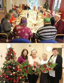 Image of tenants holding Xmas wreaths and tenants having a christmas dinner
