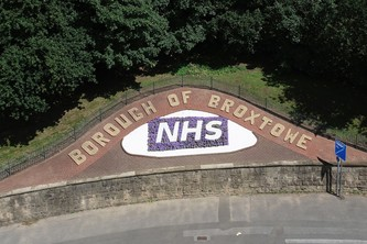 Aerial view on NHS flower bed