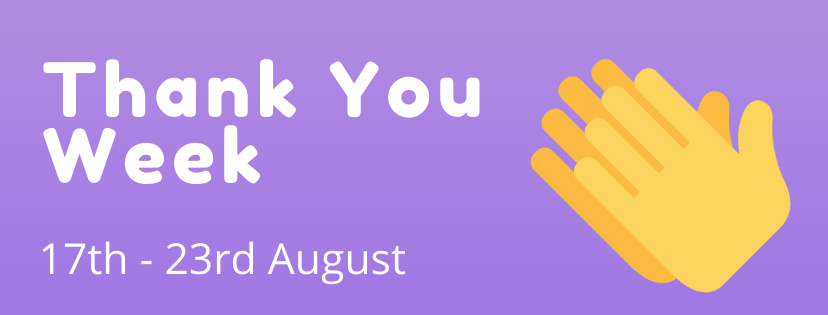 Thank you week 17th-21st August with clapping hands