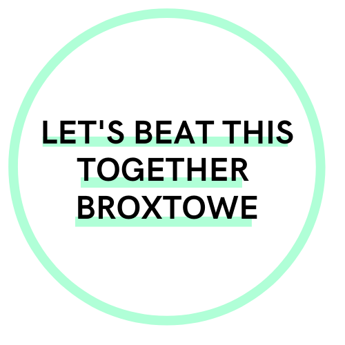 Green circle with the text: Let's beat this together