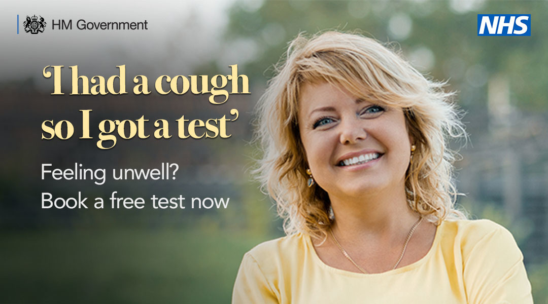 A woman with blonde hair with the quote I had a cough so I got tested, feeling unwell book a free test now