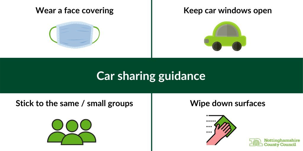 Image of a face covering, car, small group and a hand wiping down a surface