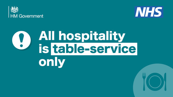 All hospitality is table service only on blue background with plate and cutlery