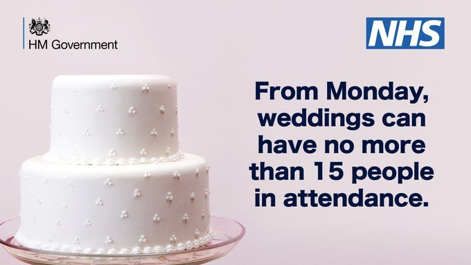 From Monday weddings can have no more than 15 people in attendance with white wedding cake