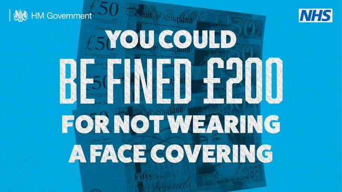 You could be fined £200 for not wearing a face covering on a blue background with £50 notes
