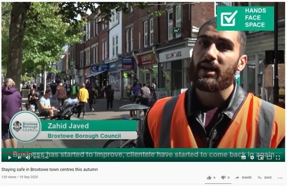Screenshot of keeping high streets safe video, with an image of a COVID 19 information officer talking to camera