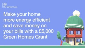 Make your home more energy efficient and save money on your bills with £5,000 Green Homes Grant, with image of house wearing a wooley hat