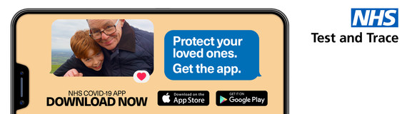Download the NHS app and protect your loved ones, image of grandad and grandson on phone screen