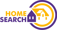 Homesearch logo - orange and purple