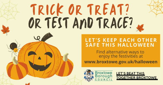 Trick or treat or test and trace with pumpkins
