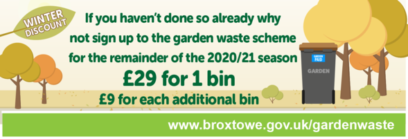 Garden waste subscription service prices for the winter season