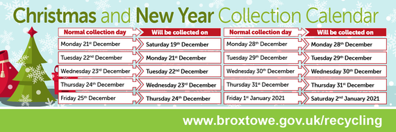 Christmas Collections graphic showing date changes for bin collections