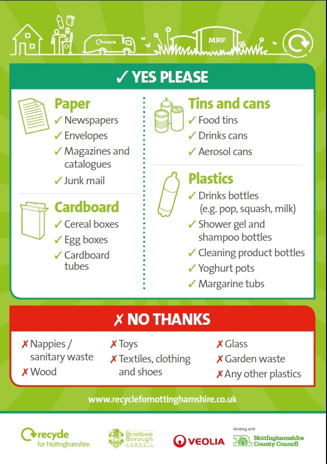 Recycle list for Broxtowe