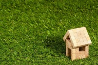 Small home on green grass