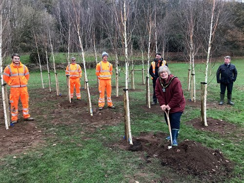 The Mayor with five other Broxtowe employees socially distanced planting a tree