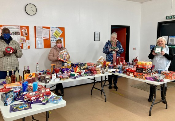 Volunteers collection food bank contributions for the Mayors Christmas Appeal
