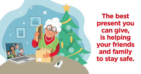 The best present you can give, is helping your friends and family stay safe, image of grandma opening present with family on a video call