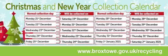 Christmas bin collection dates