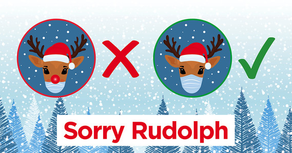Rudolph wearing face mask covering nose and mouth correctly and the other wearing a face mask incorrectly not covering it's nose