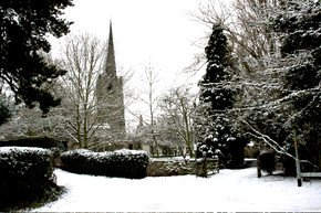 snow at Attenborough church