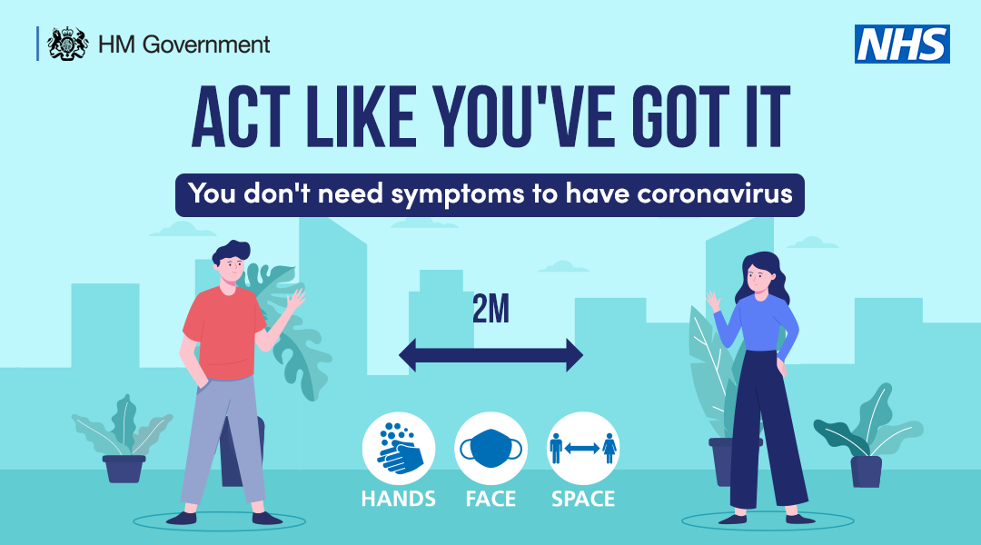 Act like you've got it, you don't need symptoms to have coronavirus, hands, face, space