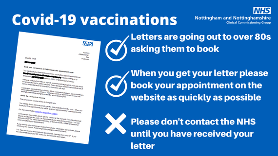 COVID-19 Vaccinations letters are going out to over 80s asking them to book,