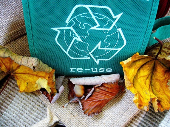 Reuse green bag surrounded by leaves