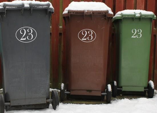 3 Wheelie bins in the snow
