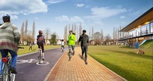 Sports ground with walkers, cyclists and new facility