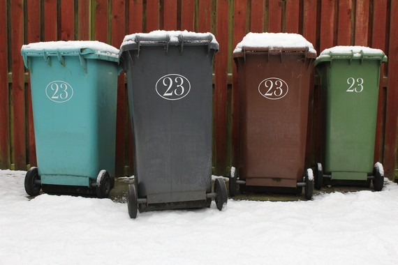 Snow-covered bins