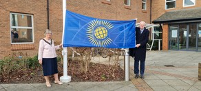 The Mayor and Leader of the Council raising the flag