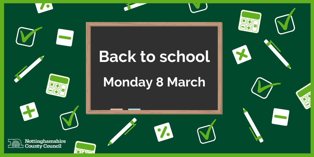Back to school Monday 8 March