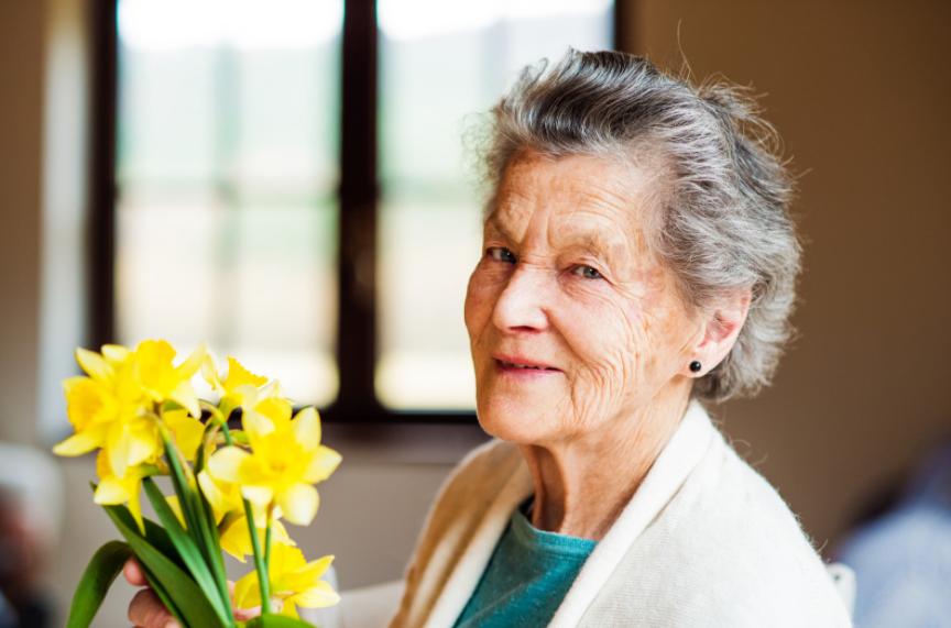 Elderly woman holding daffadils