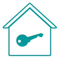 Image of a home with door key