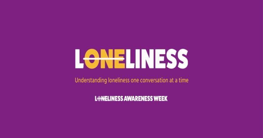 Loneliness awareness week banner - purple background
