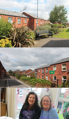 Hopkins court image collage - outside, the communal gardens and craft activity