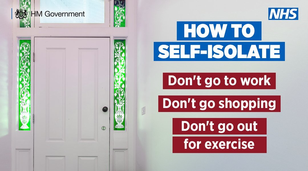 How to self-isolate - don't go to work, don't go shopping, don't go out for exercise