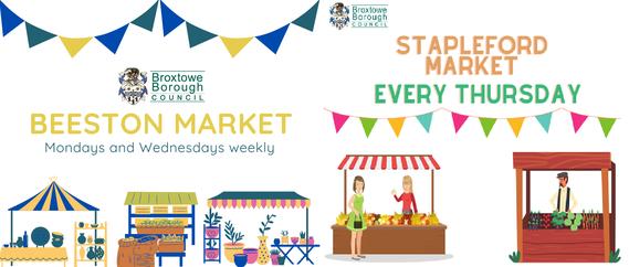 Beeston Market - Mon and Wed, Stapleford Market - Thursday