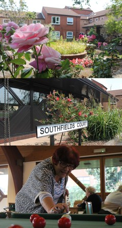 A collage of images from southfields court - communal gardens, lounge and front entrance