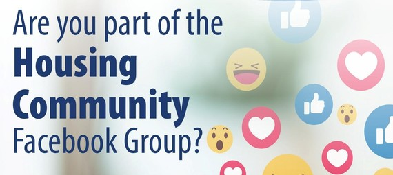 Lots of different emojis  with the text - Are you part of our housing facebook group?